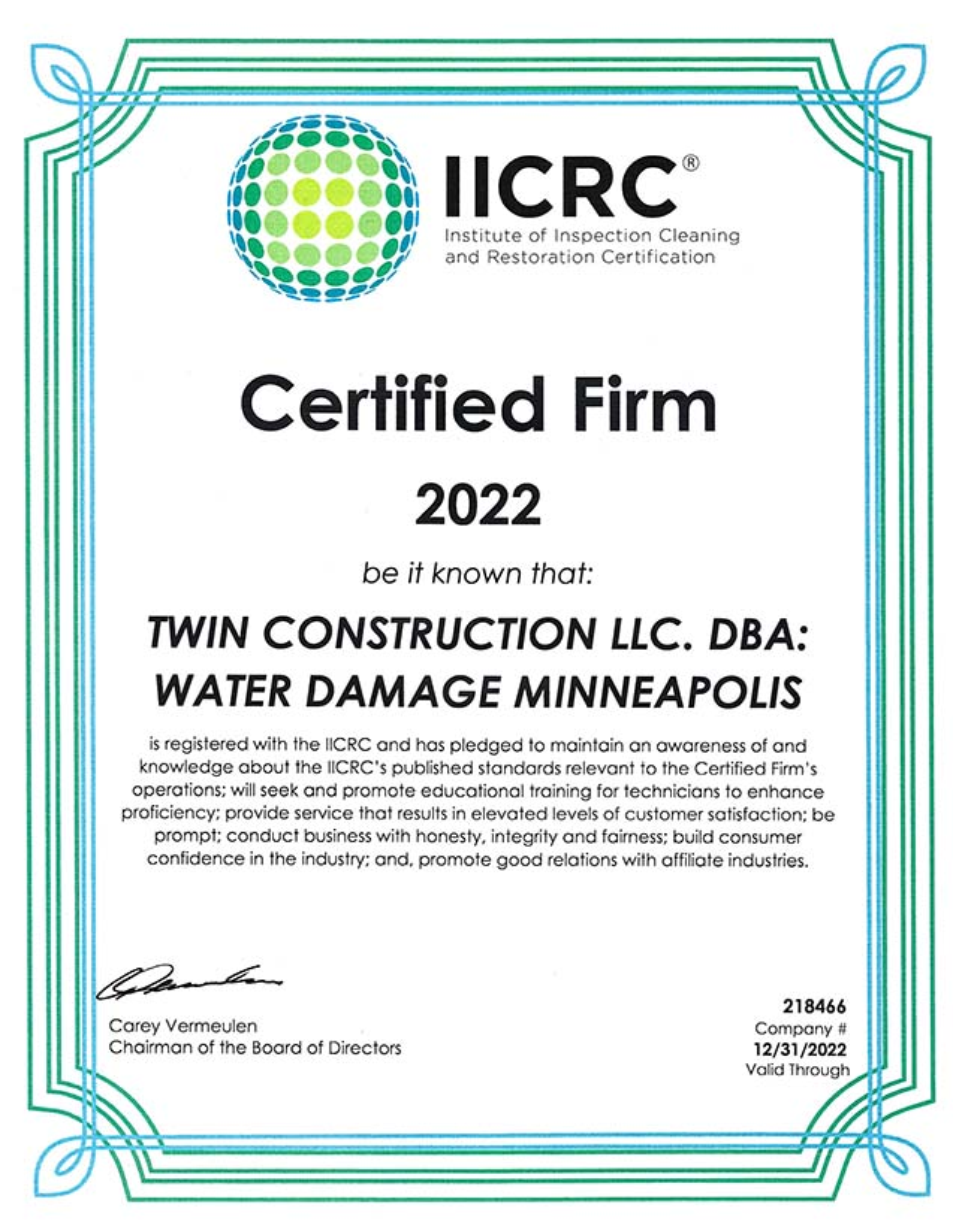 Iicrc Certified General Contractor Water Damage Minneapolis